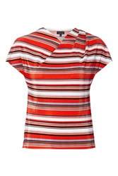 Topshop Stripe Twist Neck T Shirt Red