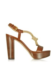 Michael Kors Holly Rope And Luggage Leather Platform Sandal Brown