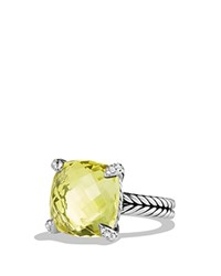 David Yurman Chatelaine Ring With Lemon Citrine And Diamonds Yellow Silver