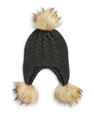 Michael Michael Kors Faux Fur Trimmed Knit Hat Grey