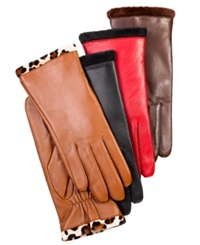 Charter Club Faux Fur Lined Leather Gloves Saddle