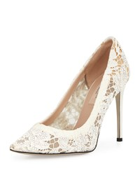 Valentino Crystal Lace Point Toe Pump Light Ivory