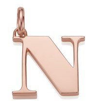 Monica Vinader Rose Gold Capital N Pendant Female Pink