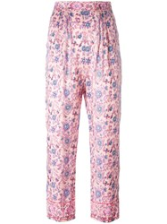 Masscob Cropped Floral Trousers Pink Purple