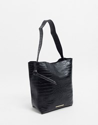 French Connection Mottled Leather Tote Bag Black