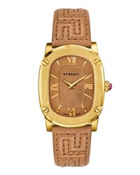 Versace 30Mm Couture Oval Watch W Leather Strap Brown