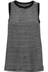 Current Elliott The Muscle Tee Striped Cotton Blend Tank Charcoal