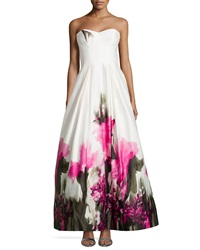 Milly Ava Strapless Floral Print Bustier Gown