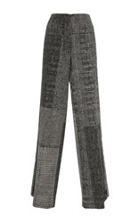 Jason Wu Menswear Jacquard Collage Wide Leg Pant Black