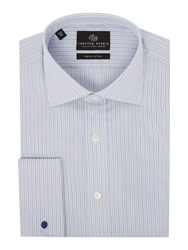 Chester Barrie Men's Contemporary Fancy Stripe Shirt Blue
