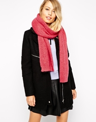 Whistles Mohair Mix Knitted Scarf Acidpink