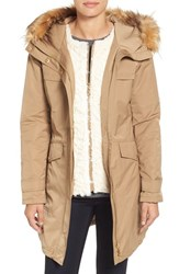Ellen Tracy Women's Techno Parka With Inset Bib And Faux Fur Trim