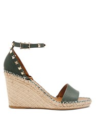 Valentino Rockstud Leather Espadrille Wedge Sandals Dark Green