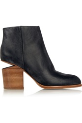 Alexander Wang Gabi Distressed Lizard Effect Leather Ankle Boots Black