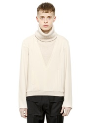 J.W.Anderson Turtleneck Sweater W Ribbed Knit Detail Cream