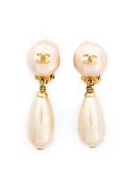 Chanel Vintage Pearl Drop Earring White