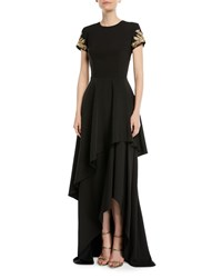 David Meister Tiered Skirted Gown W Beaded Sleeves Black
