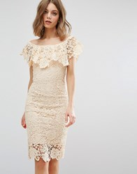 Paper Dolls Off Shoulder Midi Dress Cream