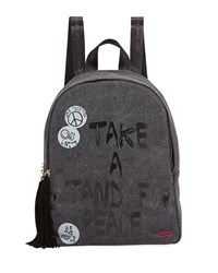Peace Love World Graphic Tassel Zip Canvas Backpack Washed Black
