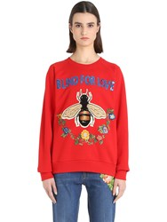 Gucci Bee Embroidered Cotton Sweatshirt
