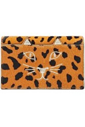 Charlotte Olympia Embroidered Pony Hair Clutch Animal Print