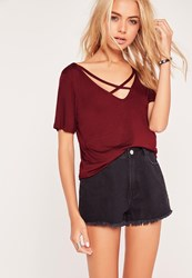 Missguided V Neck Cross Strap Front T Shirt Burgundy Burgundy