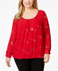 Ny Collection Plus Size Long Sleeve Semi Sheer Top Jester Discodot