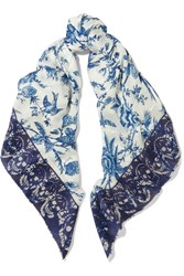 Alexander Mcqueen Reversible Printed Silk Blend And Jacquard Scarf Royal Blue White