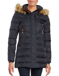 Vince Camuto Long Sleeve Hooded Puffer Jacket Navy