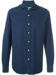 Canali Dotted Shirt Blue