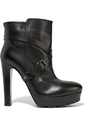 Belstaff Bassetwoman Leather Platform Ankle Boots Black