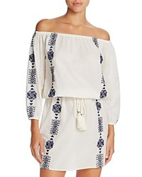 Pampelone Bardot Off The Shoulder Dress Swim Cover Up White Navy