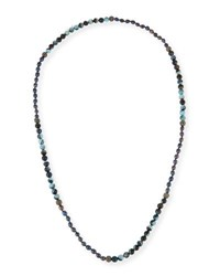 Hipchik Francine Turquoise Agate And Rhinestone Beaded Necklace Blue