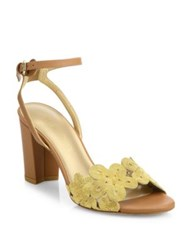 Stuart Weitzman Chainreaction Leather Block Heel Sandals Gold