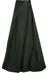 Bottega Veneta Belted Cotton Poplin Maxi Skirt Forest Green