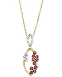 Macy's Ruby 3 4 Ct. T.W. And Diamond 1 10 Ct. T.W. Scatter Pendant Necklace In 14K Gold Red