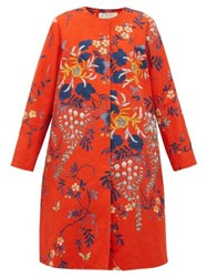 By Walid Tanita Floral Print Cotton Coat Red Multi