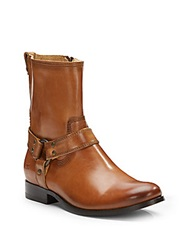 Frye Melissa Harness Zip Leather Ankle Boots Camel