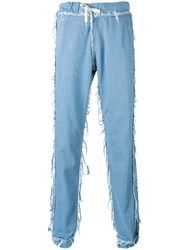 Andrea Crews Loose Fit Frayed Jeans Blue