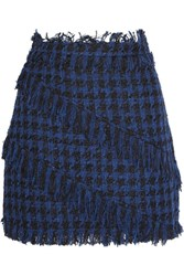 Msgm Fringed Houndstooth Tweed Mini Skirt Navy