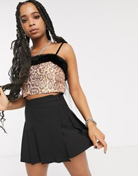 Milk It Vintage Structured Crop Top With Faux Fur Trim In Leopard Brown