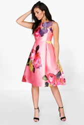 Boohoo Oversized Floral Midi Skater Dress Pink