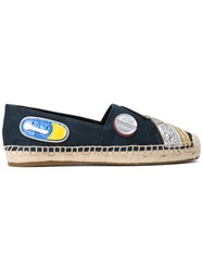 Marc Jacobs Sienna Flat Espadrilles Women Cotton Leather Foam Rubber 37 Blue