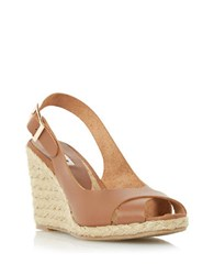 Dune Kia Leather Espadrille Wedge Sandals Tan