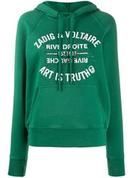 Zadig And Voltaire Crystal Embellished Hooded Sweatshirt Green
