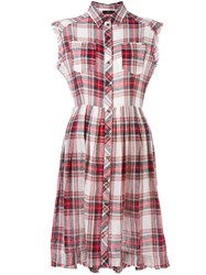 Diesel Checked Buttoned Dress Red