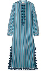 Figue Paolina Tasseled Striped Cotton Blend Voile Midi Dress Blue Usd