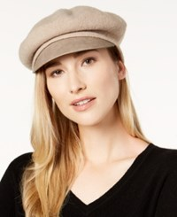 Nine West Wool And Faux Leather Newsboy Hat Taupe