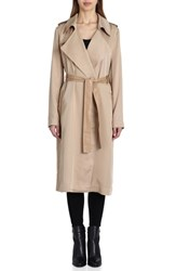 Badgley Mischka Faux Leather Trim Long Trench Coat Sand