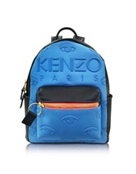 Kenzo Metallic Denim Blue And Leather Kombo Backpack